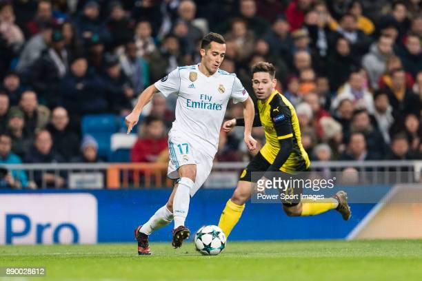 Lucas Vazquez of Real Madrid in action during the Europe Champions League 201718 match between Real Madrid and Borussia Dortmund at Santiago Bernabeu...