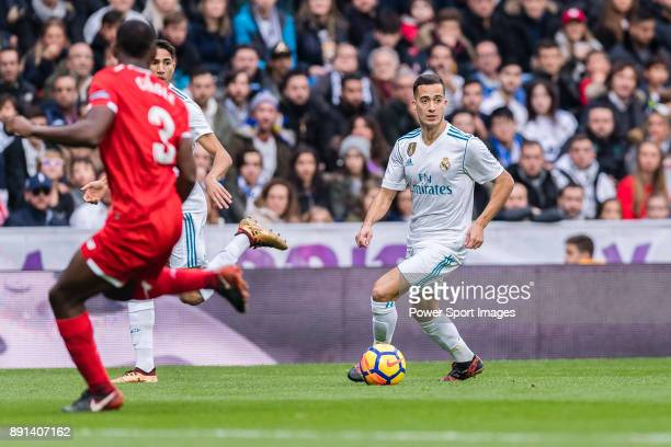 Lucas Vazquez of Real Madrid in action during the La Liga 201718 match between Real Madrid and Sevilla FC at Santiago Bernabeu Stadium on 09 December...