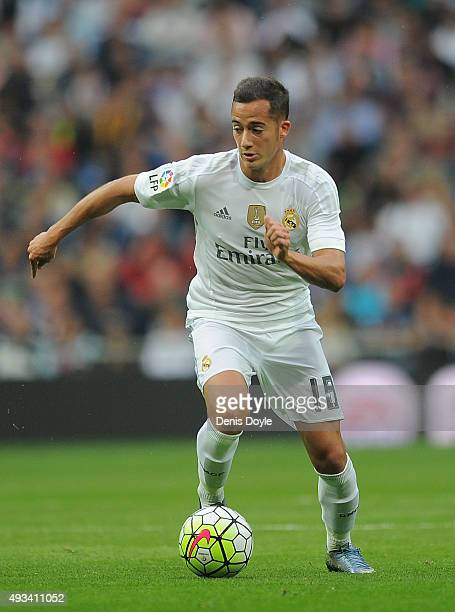 Lucas Vazquez of Real Madrid in action during the La Liga match between Real Madrid CF and Levante UD at estadio Santiago Bernabeu on October 17 2015...