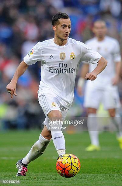 Lucas Vazquez of Real Madrid in action during the La Liga match between Real Madrid CF and Getafe CF at Estadio Santiago Bernabeu on December 5 2015...