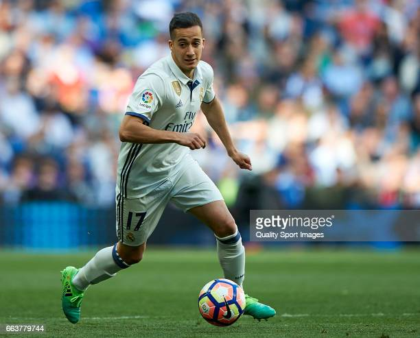 Lucas Vazquez of Real Madrid in action during the La Liga match between Real Madrid and Deportivo Alaves at Estadio Santiago Bernabeu on April 2 2017...
