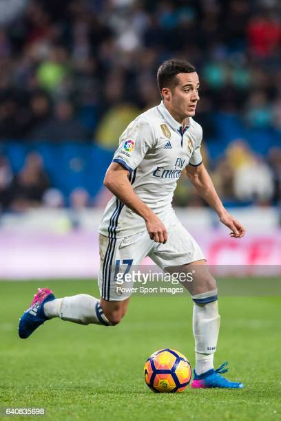 Lucas Vazquez of Real Madrid in action during their La Liga match between Real Madrid and Real Sociedad at the Santiago Bernabeu Stadium on 29...