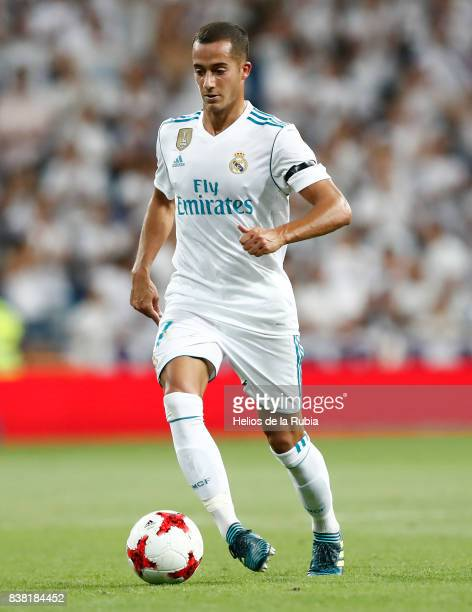 Lucas Vazquez of Real Madrid in actions during the match Trofeo Santiago Bernabeu between Real Madrid CF and Fiorentina at Santiago Bernabeu Stadium...
