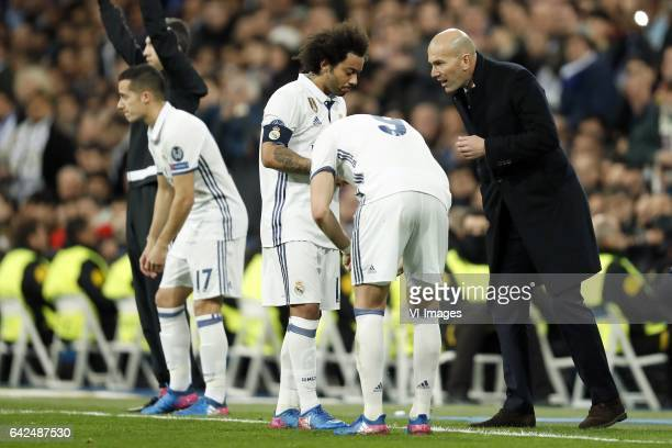 Lucas Vazquez of Real Madrid Marcelo of Real Madrid Karim Benzema of Real Madrid coach Zinedine Zidane of Real Madridduring the UEFA Champions League...