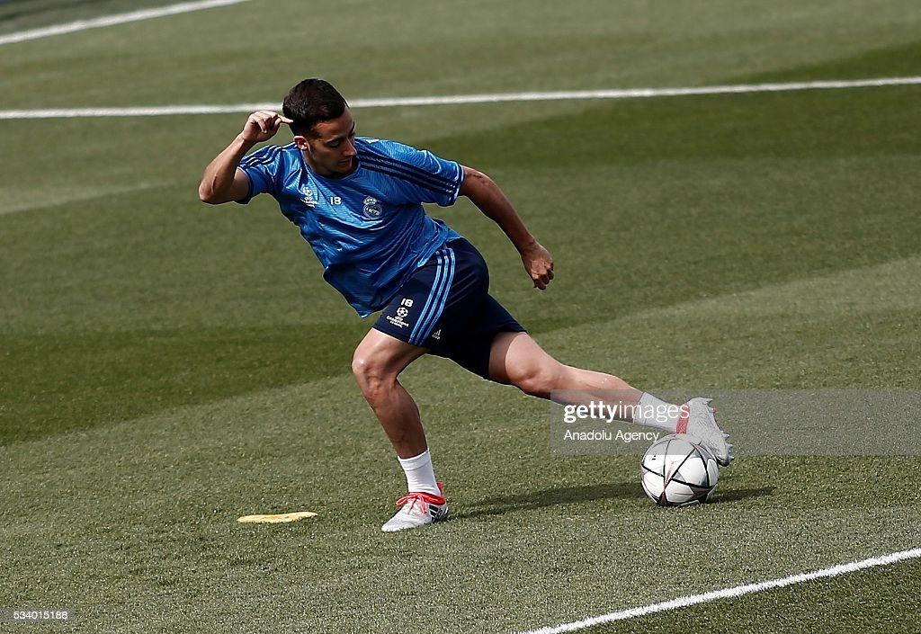 Lucas Vazquez of Real Madrid performs during their team's training session at the Valdebebas's sports complex in Madrid, Spain on May 24, 2016. Real Madrid will face Atletico Madrid in the 2016 UEFA Champions League final at Guiseppe Meazza stadium in Milan, Italy on May 28, 2016.