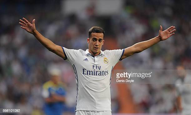 Lucas Vazquez of Real Madrid reacts during the La Liga match between Real Madrid CF and RC Celta de Vigo at Estadio Santiago Bernabeu on August 27...