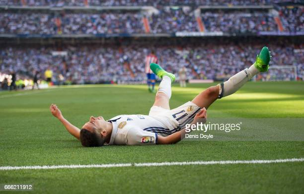 Lucas Vazquez of Real Madrid reacts during the La Liga match between Real Madrid CF and Club Atletico de Madrid at Bernabeu on April 8 2017 in Madrid...