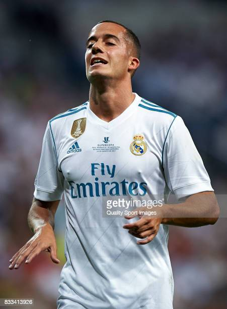 Lucas Vazquez of Real Madrid reacts during the Supercopa de Espana Supercopa Final 2nd Leg match between Real Madrid and FC Barcelona at Estadio...