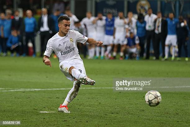 Lucas Vazquez of Real Madrid scores in the penalty shootout during the UEFA Champions League Final between Real Madrid and Club Atletico de Madrid at...