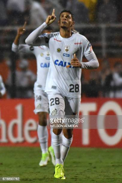 Lucas Verissimo of Brazils Santos celebrates his goal against Colombias Santa Fe during their 2017 Copa Libertadores football match held at Pacaembu...