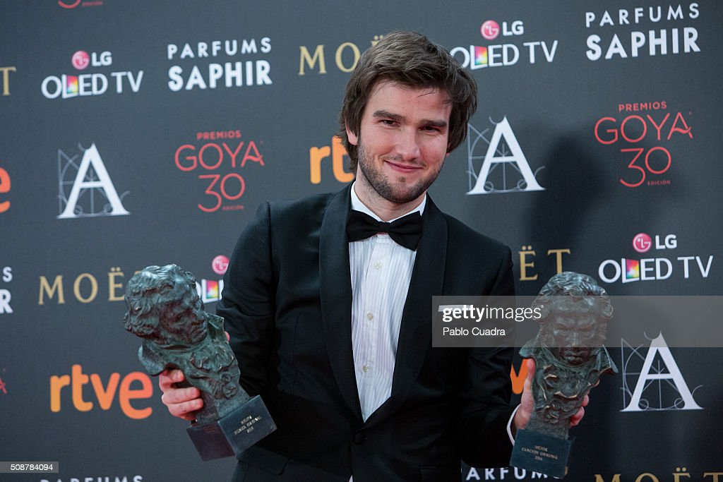 Lucas Vidal holds the award for best original music during the 30th edition of the Goya Cinema Awards at Madrid Marriott Auditorium on February 6, 2016 in Madrid, Spain.