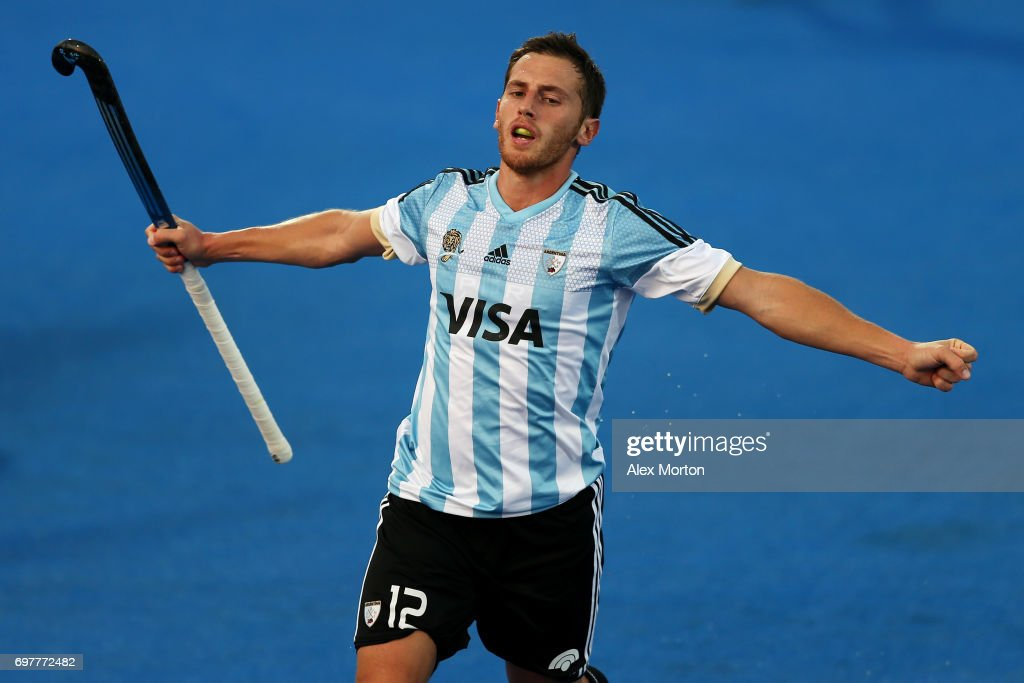 Lucas Vila of Argentina celebrates after scoring his team's third goal during the Pool A match between Argentina and China on day five of Hero Hockey World League Semi-Final at Lee Valley Hockey and Tennis Centre on June 19, 2017 in London, England.
