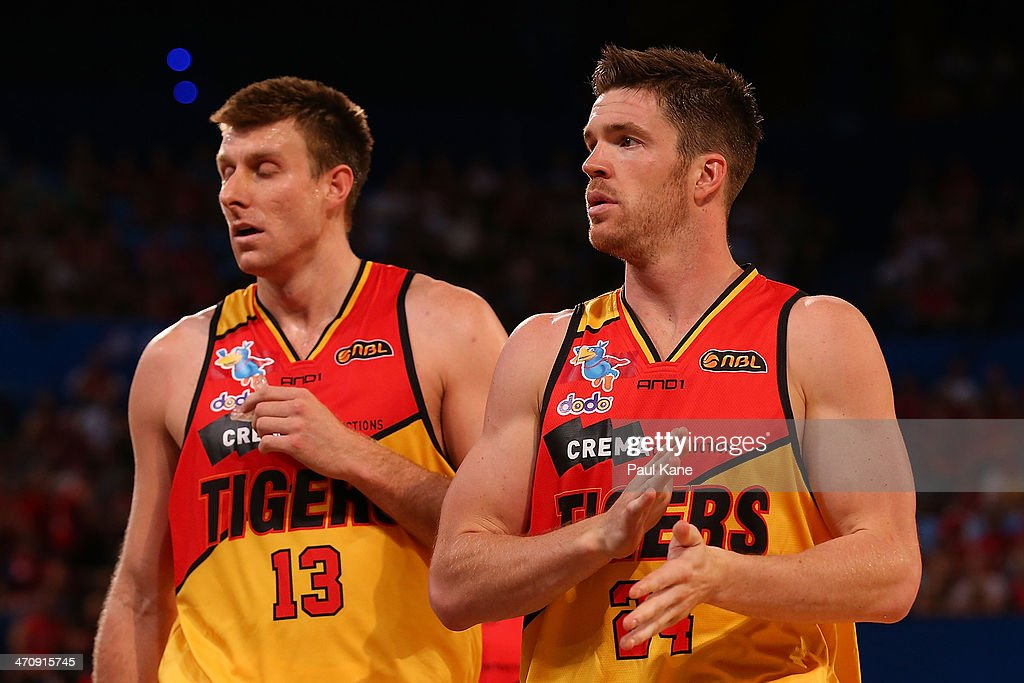 Lucas Walker of the Tigers looks on during the round 19 NBL match between the Perth Wildcats and the Melbourne Tigers at Perth Arena on February 21, 2014 in Perth, Australia.