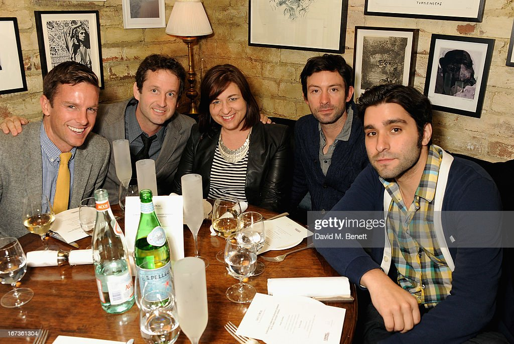 Lucas Webb, Trevor Groth, Jessica Buzzard, Shane Carruth and Jordan Vogt Roberts attend Grey Goose hosted Sundance London Filmmaker Dinner at Little House on April 24, 2013 in London, England.
