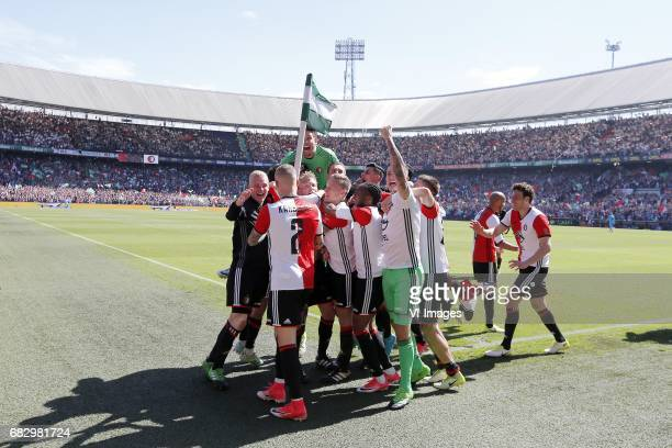 Lucas Woudenberg of Feyenoord Rick Karsdorp of Feyenoord Dirk Kuyt of Feyenoord keeper Brad Jones of Feyenoord Jens Toornstra of Feyenoord Miguel...