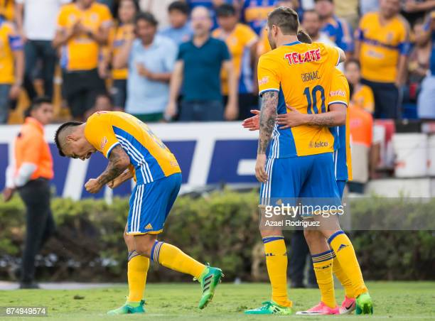Lucas Zelarayan of Tigres celebrates after scoring his team's second goal during the 16th round match between Tigres UANL and Tijuana as part of the...