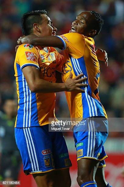Lucas Zelarayan of Tigres celebrates after scoring the first goal of his team during the 16th round match between Tijuana and Tigres UANL as part of...