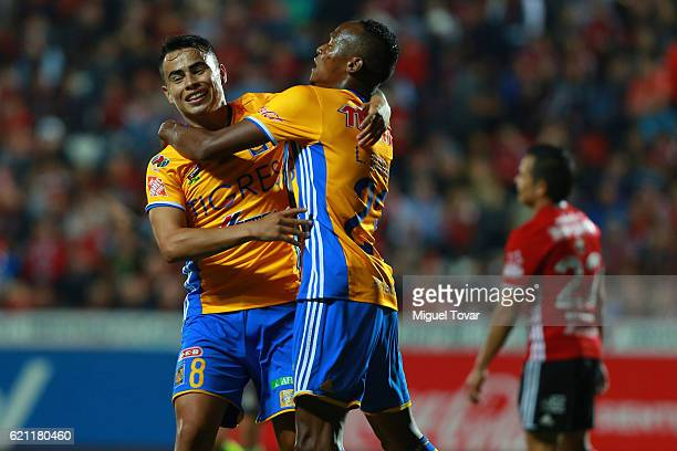 Lucas Zelarayan of Tigres celebrates with teammates after scoring the first goal of his team during the 16th round match between Tijuana and Tigres...