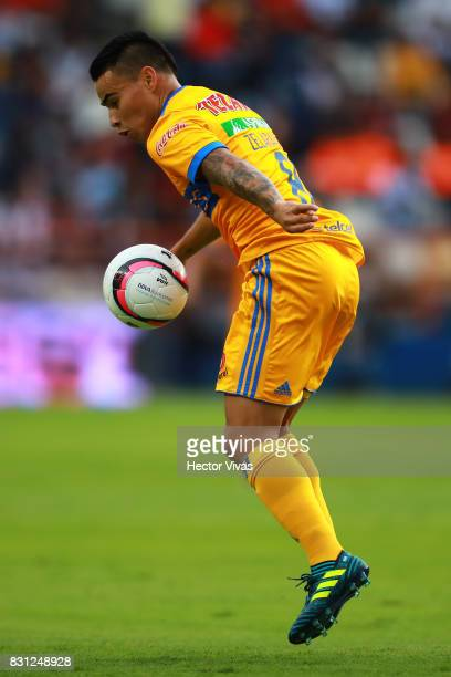 Lucas Zelarayan of Tigres drives the ball during the 4th round match between Pachuca and Tigres UANL as part of the Torneo Apertura 2017 Liga MX at...