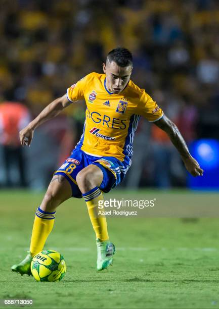 Lucas Zelarayan of Tigres drives the ball during the Final first leg match between Tigres UANL and Chivas as part of the Torneo Clausura 2017 Liga MX...