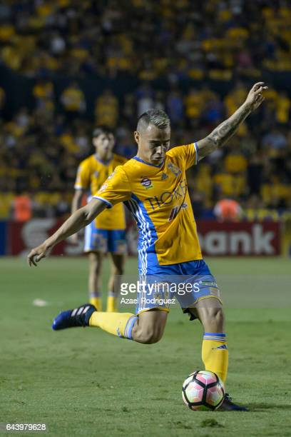 Lucas Zelarayan of Tigres kicks the ball during the quarterfinals first leg match between Tigres UANL and Pumas UNAM as part of the CONCACAF...