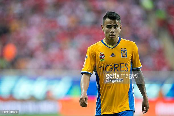 Lucas Zelarayan of Tigres looks on during the 10th round match between Chivas and Tigres as part of the Torneo Apertura 2016 Liga MX at Chivas...
