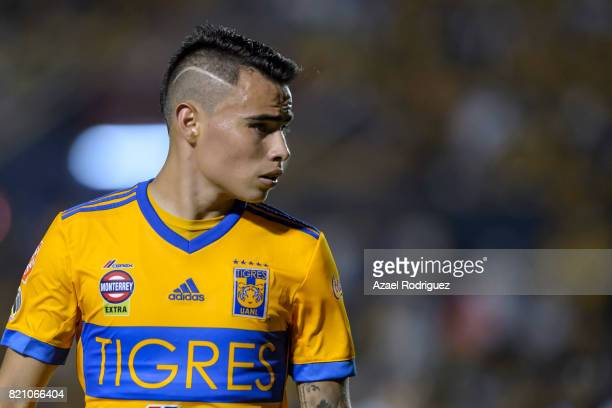 Lucas Zelarayan of Tigres looks on during the 1st round match between Tigres UANL and Puebla as part of the Torneo Apertura 2017 Liga MX at...