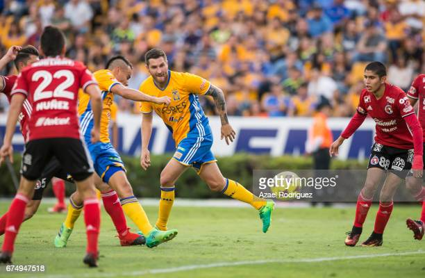 Lucas Zelarayan of Tigres takes a shot scores his team's second goal during the 16th round match between Tigres UANL and Tijuana as part of the...