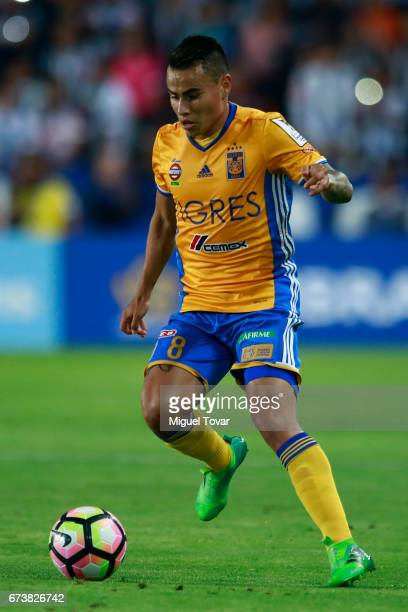 Lucas Zelarrayan of Tigres drives the ball during the Final second leg match between Pachuca and Tigres UANL as part of the CONCACAF Champions League...