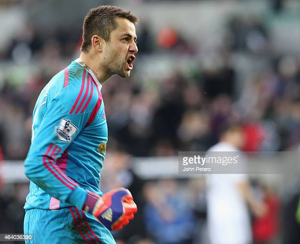 Lucasz Fabianski of Swansea City celebrates after the Barclays Premier League match between Swansea City and Manchester United at Liberty Stadium on...