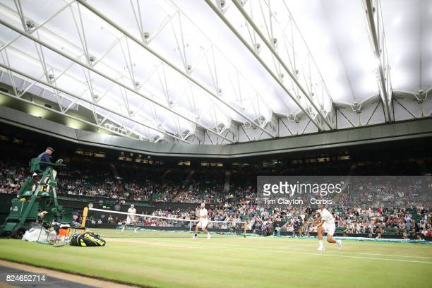 Lucasz Kubot of Poland and Brazil'u2019s Marcelo Melo in action against Mate Pavic of Croatian and Oliver Marach of Austria in the Men's Doubles...