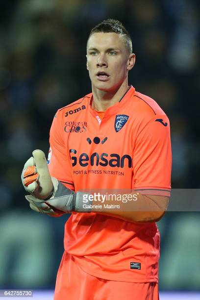 Lucasz Skorupski of Empoli FC reacts during the Serie A match between Empoli FC and SS Lazio at Stadio Carlo Castellani on February 18 2017 in Empoli...
