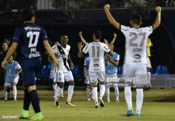 Lucca of Brazil's Ponte Preta celebrates after scoring against Paraguay's Sol de America during a 2017 Copa Sudamericana football match held at Luis...