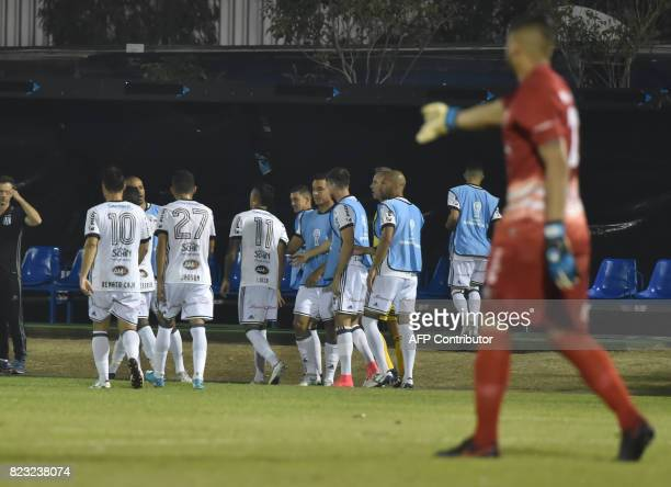 Lucca of Brazil's Ponte Preta celebrates with teammates after scoring against Paraguay's Sol de America during a 2017 Copa Sudamericana football...