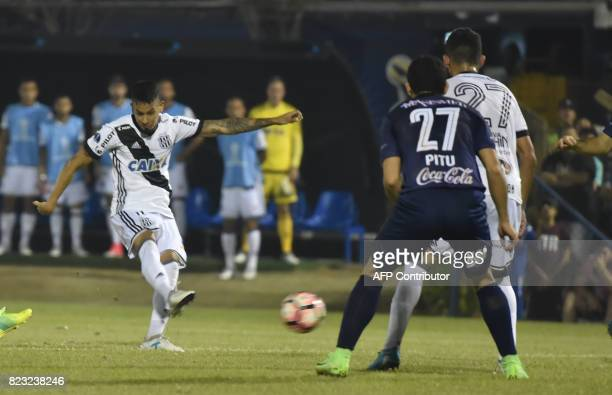 Lucca of Brazil's Ponte Preta scores against Paraguay's Sol de America during a 2017 Copa Sudamericana football match held at Luis Alfonso Giagni...