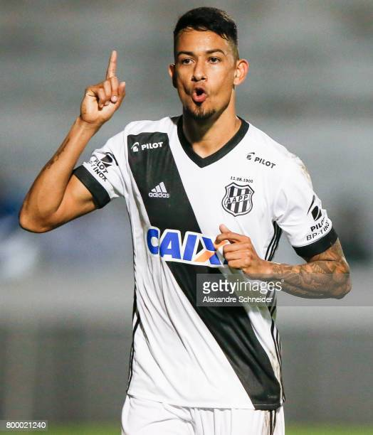Lucca of Ponte Preta celebrates their firs goal during the match between Ponte Preta and Cruzeiro for the Brasileirao Series A 2017 at Moises...