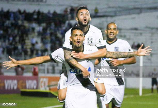 Lucca of Ponte Preta celebrates their firs goal with his team mates during the match between Ponte Preta and Cruzeiro for the Brasileirao Series A...