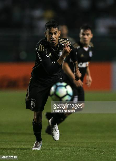 Lucca of Ponte Preta in action during the match between Santos and Ponte Preta as a part of Campeonato Brasileiro 2017 at Pacaembu Stadium on June 17...