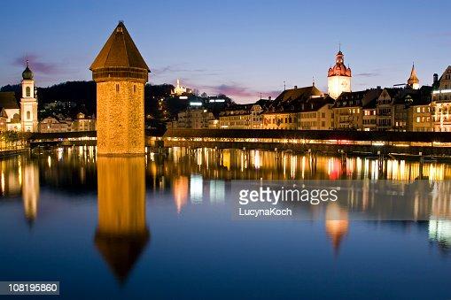 Lucerne City Skyline, Chapel Bridge Reflected on Water at Dusk