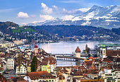 Lucerne, Switzerland, aerial view of the old town, lake Lucerne and Rigi mountain