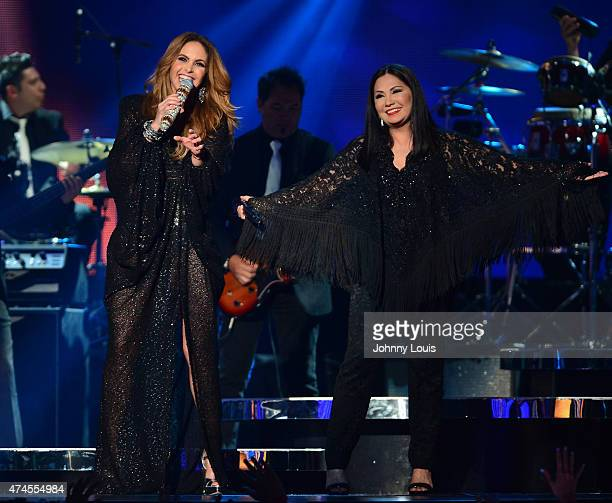 Lucero and Ana Gabriel performs at the 2015 Billboard Latin Music Awards presented by State Farm on Telemundo at Bank United Center on April 30 2015...