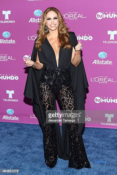 Lucero arrives at Telemundo's 'Premios Tu Mundo Awards' at American Airlines Arena on August 20 2015 in Miami Florida