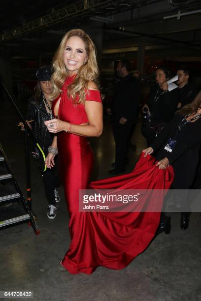 Lucero poses backstage of Univision's 29th Edition of Premio Lo Nuestro A La Musica Latina at the American Airlines Arena on February 23 2017 in...