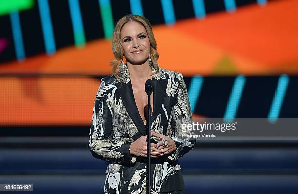 Lucero speaks onstage at Telemundo's 'Premios Tu Mundo' Awards 2015 at American Airlines Arena on August 20 2015 in Miami Florida