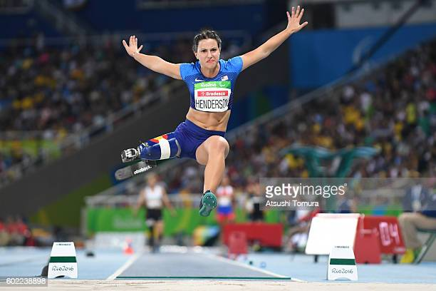 Lucey Henderson of the USA competes in the women's long jump T42 final on day 3 of the Rio 2016 Paralympic Games at Olympic stadium on September 10...