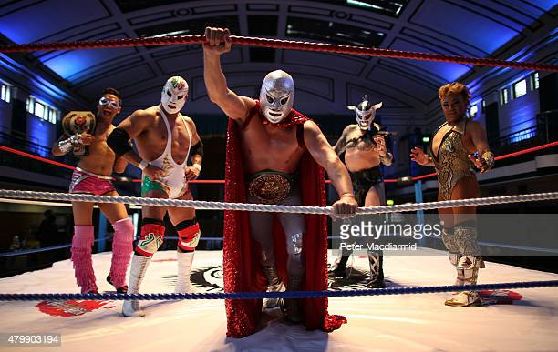 Lucha Libre wrestler El Hijo Del Santo poses with Cassius Dr Wagner JR Metallico and Cassandro at York Hall with Lucha Britannia's Metallico on July...