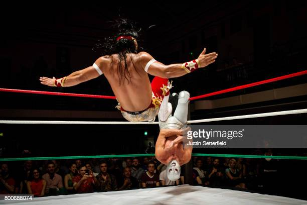 Lucha Libre wrestlers perform at York Hall on June 24 2017 in London England Lucha Libre which translates as 'free fighting' is a Mexican style of...