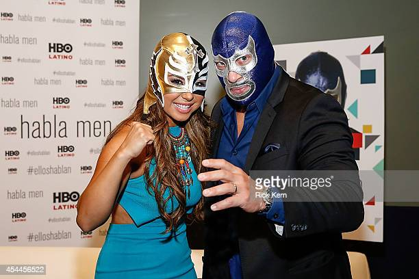Luchador Blue Demon Jr poses for a photograph during HBO Latino Habla Men at People en Español San Antonio Festival at the Henry B Gonzalez...