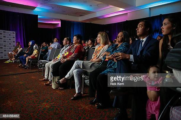 Luchador Blue Demon Jr producer Trina Bardusco activist Rosie Castro US Congressman Joaquin Castro and Anna Castro watch a screening of 'Habla Men'...