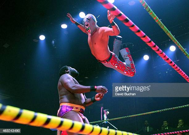 Luchadores perform at Luca VaVOOM Valentine's Show 'Dangerous/Beautiful' at The Mayan on February 11 2015 in Los Angeles California